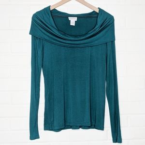 Soft Surroundings Teal Cowl Neck Sweater Top Small